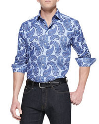 Camisa de manga larga de paisley azul