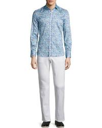 Camisa de manga larga de paisley celeste