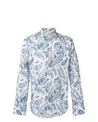Camisa de Manga Larga de Paisley en Blanco y Azul de Etro