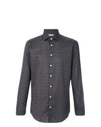 Camisa de manga larga de paisley en marrón oscuro de Etro