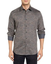 Camisa de manga larga de paisley gris