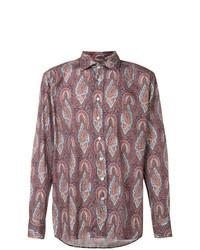 Camisa de manga larga de paisley morado oscuro de Etro