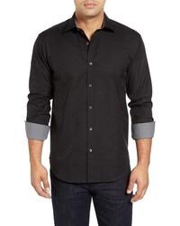 Camisa de manga larga de paisley negra