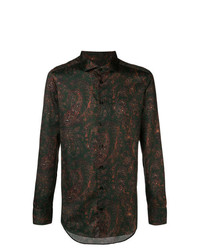Camisa de manga larga de paisley verde oscuro de Etro