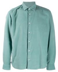 Camisa de manga larga de pana en verde menta de Altea