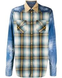 Camisa de manga larga de patchwork azul de DSQUARED2