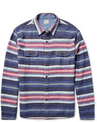 Camisa de manga larga de rayas horizontales azul marino