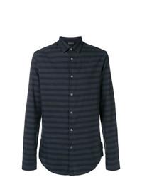 Camisa de manga larga de rayas horizontales azul marino de Emporio Armani