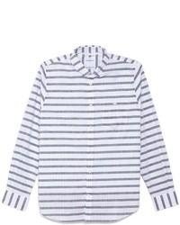 Camisa de manga larga de rayas horizontales en blanco y azul marino