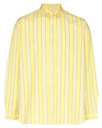 Camisa de manga larga de rayas verticales amarilla de Sunnei