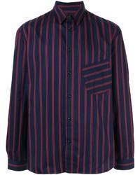 Camisa de manga larga de rayas verticales azul marino de Band Of Outsiders