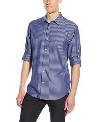 Camisa de manga larga de rayas verticales azul marino de Calvin Klein