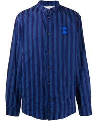 Camisa de manga larga de rayas verticales azul marino de Off-White