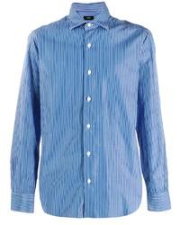 Camisa de manga larga de rayas verticales azul de Barba