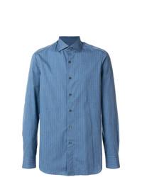 Camisa de manga larga de rayas verticales azul de Boglioli