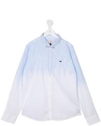 Camisa de Manga Larga de Rayas Verticales Blanca de Armani Junior
