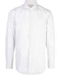 Camisa de manga larga de rayas verticales blanca de Brunello Cucinelli