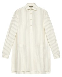 Camisa de manga larga de rayas verticales blanca de Gucci