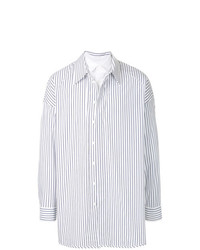 Camisa de Manga Larga de Rayas Verticales Blanca de Juun.J