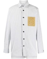 Camisa de manga larga de rayas verticales blanca de Loewe