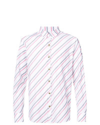 Camisa de Manga Larga de Rayas Verticales Blanca de Moncler
