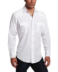 Camisa de Manga Larga de Rayas Verticales Blanca de Wrangler