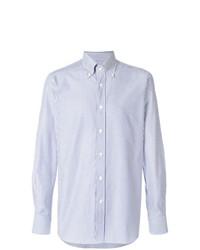 Camisa de manga larga de rayas verticales celeste de Bagutta