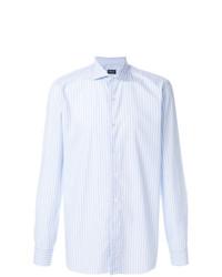 Camisa de manga larga de rayas verticales celeste de Borriello