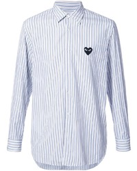 Camisa de manga larga de rayas verticales celeste de Comme Des Garcons Play