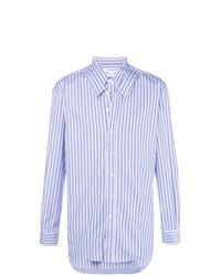 Camisa de manga larga de rayas verticales celeste de Comme Des Garcons SHIRT
