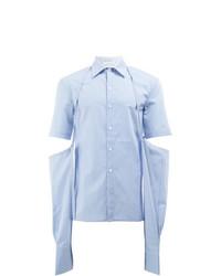 Camisa de manga larga de rayas verticales celeste de Delada