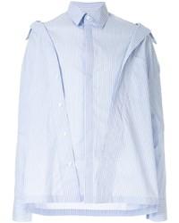 Camisa de manga larga de rayas verticales celeste de Fengchen Wang