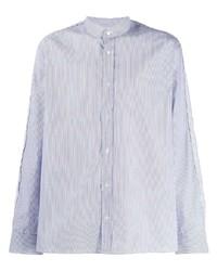 Camisa de manga larga de rayas verticales celeste de Golden Goose