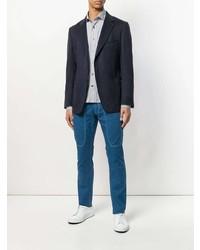 Camisa de manga larga de rayas verticales celeste de Jeckerson