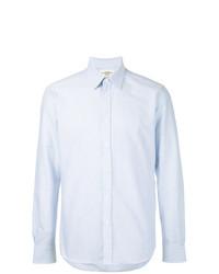 Camisa de manga larga de rayas verticales celeste de Kent & Curwen
