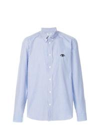 Camisa de manga larga de rayas verticales celeste de Kenzo