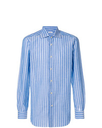 Camisa de manga larga de rayas verticales celeste de Kiton