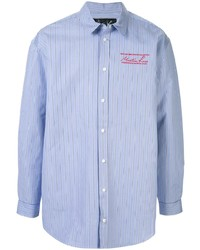 Camisa de manga larga de rayas verticales celeste de Martine Rose