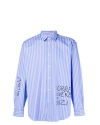 Camisa de manga larga de rayas verticales celeste de MSGM