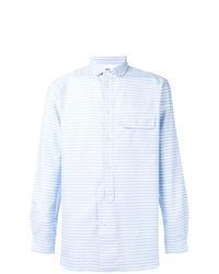 Camisa de manga larga de rayas verticales celeste de Natural Selection
