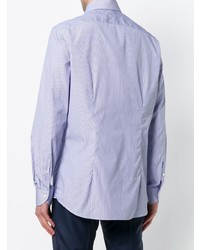 Camisa de manga larga de rayas verticales celeste de Xacus