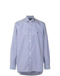 Camisa de manga larga de rayas verticales celeste de Polo Ralph Lauren