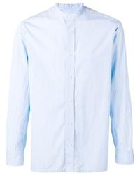 Camisa de manga larga de rayas verticales celeste de Salvatore Piccolo