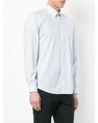 Camisa de manga larga de rayas verticales celeste de Cerruti 1881