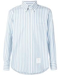 Camisa de manga larga de rayas verticales celeste de Thom Browne