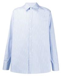 Camisa de manga larga de rayas verticales celeste de Valentino