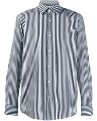 Camisa de manga larga de rayas verticales en azul marino y blanco de BOSS HUGO BOSS