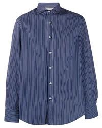 Camisa de manga larga de rayas verticales en azul marino y blanco de Brunello Cucinelli