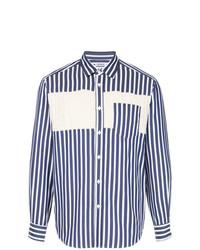 Camisa de Manga Larga de Rayas Verticales en Azul Marino y Blanco de Coohem