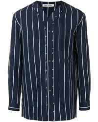 Camisa de manga larga de rayas verticales en azul marino y blanco de Henrik Vibskov